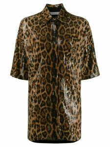 In The Mood For Love Valentina sequin leopard-print shirt dress -