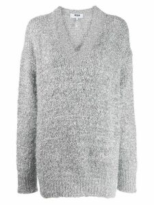 MSGM embroidered metallic jumper - Grey
