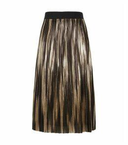 Mikaela Metallic Pleated Midi Skirt