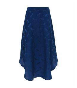 Horse Print Silk-Blend Skirt