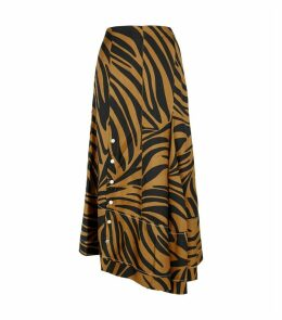 Silk Zebra Print Asymmetric Midi Skirt