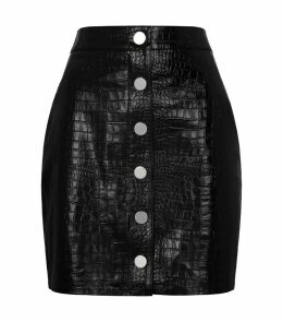 Bela Embossed Leather A-Line Skirt