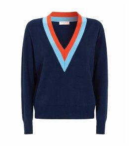 Wool-Cashmere Contrast Stripe Sweater