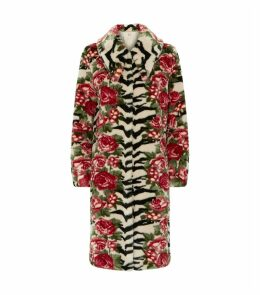 Faux Fur Floral Zebra Coat