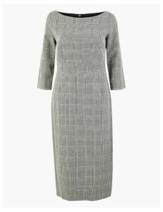 M&S Collection Cotton Blend Checked Bodycon Midi Dress