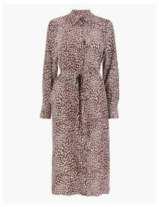 Autograph Pure Silk Printed Shirt Midi Dress