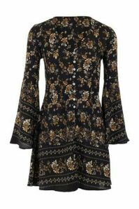 Floral Button Front Tunic Dress