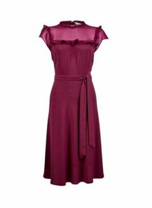 Womens **Billie & Blossom Mulberry Ruffle Belted Skater Dress- Red, Red