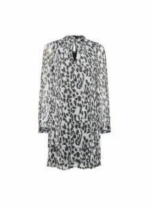 Womens **Billie & Blossom Silver Leopard Print Twist Dress, Silver