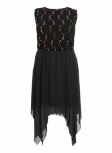 Womens *Quiz Curve Black Lace Hanky Skater Dress- Black, Black