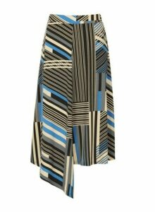 Womens *Izabel London Multicoloured Striped Asymmetric Skirt- Blue, Blue