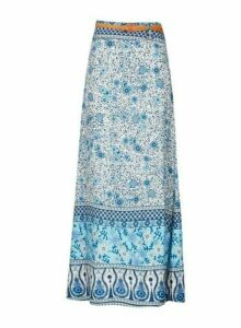 Womens *Izabel London Blue Floral Print Belted Skirt- Blue, Blue