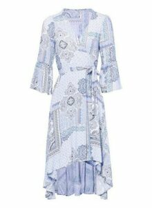 Womens *Izabel London Blue Tribal Print Wrap Dress- Blue, Blue