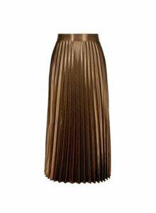 Womens Bronze Satin Pleat Midi Skirt- Brown, Brown