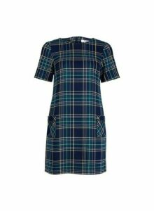 Womens Petite Navy Check Print Shift Dress- Blue, Blue