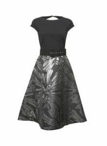Womens **Luxe Black Belted Jacquard Midi Dress, Black