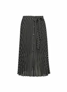 Womens Petite Black Polka Dot Print Pleated Midi Skirt, Black