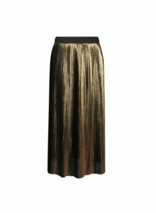 Womens **Gold Pleated Skirt- Gold, Gold