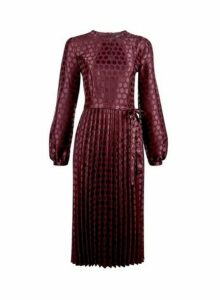 Womens Berry Spot Jacquard Pleated Midi Dress- Purple, Purple