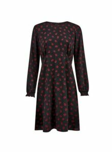 Womens Black Empire Floral Print Pleat Dress, Black