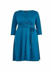 Womens **Dp Curve Teal Blue Wrap Dress- Blue, Blue