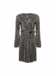 Womens **Grey Snake Print Plisse Dress, Grey