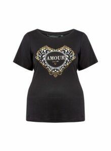 Womens **Dp Curve Black 'Amour' Motif Tee, Black