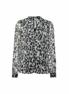 Womens **Billie & Blossom Silver Leopard Print Mesh Blouse, Silver
