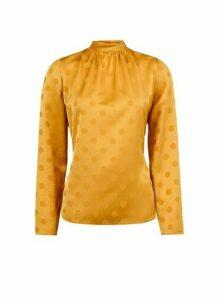 Womens Yellow Spot Design Jacquard Top- Yellow, Yellow