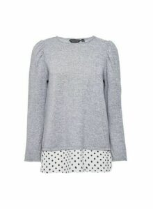 Womens Grey Spot Underlay 2-In-1 Long Sleeve Top- Grey, Grey