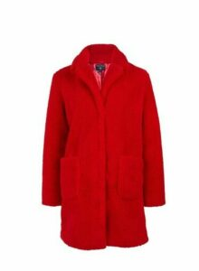 Womens Red Longline Teddy Coat- Red, Red