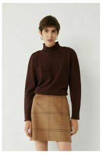 Womens Warehouse Brown Windowpane Mini Pelmet Skirt -  Brown
