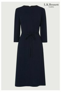 Womens L.K. Bennett Blue Iris Crepe Pleat Sleeve Dress -  Blue