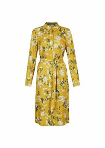 Silk Blend Jasmine Shirt Dress Ochre