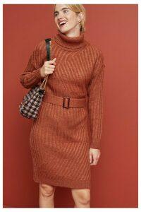 Womens Next Rust Roll Neck Jumper Dress -  Brown