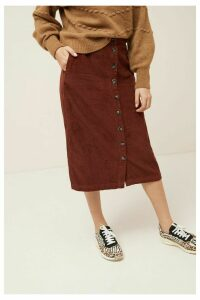 Womens Next Rust Cord Midi Skirt -  Brown