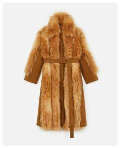 Stella McCartney Champagne Fur Free Fur Coat, Women's, Size 10
