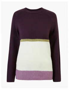 M&S Collection Cosy Colour Block Relaxed Fit Jumper