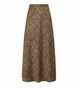 Brown Bias Cut Satin Leopard Print Midi Skirt New Look