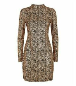 Pink Vanilla Rose Gold Metallic Animal Print Dress New Look