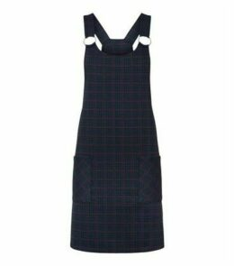 Navy Check Ring Strap Pinafore Dress New Look