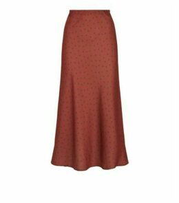 Rust Bias Cut Satin Spot Midi Skirt New Look