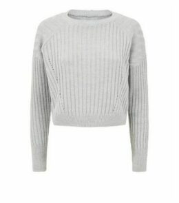 Carpe Diem Grey Ribbed Knit Crop Jumper New Look