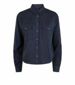 Navy Long Sleeve Utility Shirt New Look