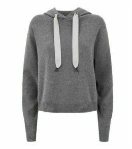 Dark Grey Knitted Hoodie New Look