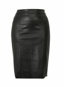Black Faux Leather Skirt, Black