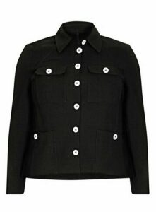 **Live Unlimited Black Buttoned Jacket, Black