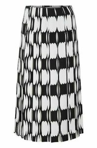Plissé midi skirt with collection motif
