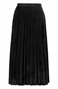 A-line plissé skirt in stretch velvet