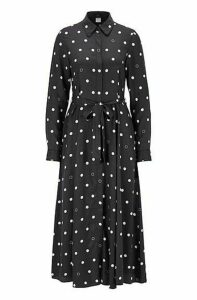 Belted shirt dress with polka-dot print